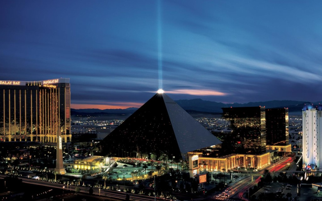 Like a mirage rising out of the desert floor, the pyramid rises 30 stories from the desert floor.